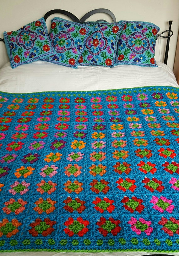 25% OFF In STOCK Granny Squares Azure Blue Blanket Afghan SALE