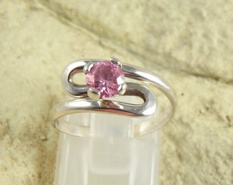 Pink CZ in Sterling Ring Setting