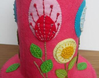 Folk Art Flowers on Bright Pink - Felt Pincushion