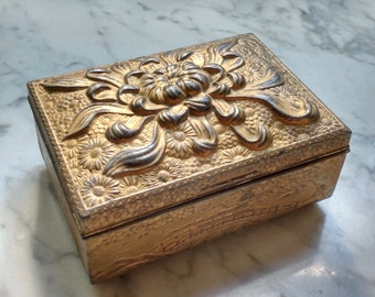 Vintage Japan 1940's Metal Embossed Mums Floral Chinoiserie Trinket Cedar Lined Cigarette Box Jewelry Holder
