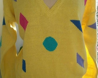 80s AVERROE--Yellow V-Neck Pullover with Colorful Shapes--Cotton Blend--Made in Hong Kong--Size L