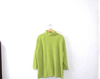 Vintage 80's neon green turtleneck sweater, chunky knit, sweater tunic, oversized sweater, size medium / large