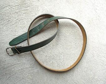Vintage 70's distressed green leather belt, size 38 medium