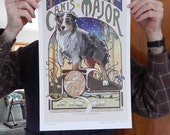 New Size Mini Poster Canis Major Aussie Print of Original Illustration Large Size 11 x17