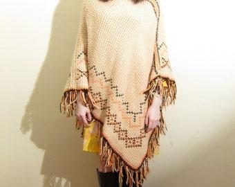 Vintage 1970s Crochet Poncho in Beige Brown Orange Diamond Pattern with Fringe / 60s 70s Boho Knit Poncho Shawl Sweater