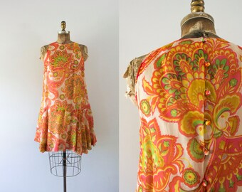 1960s Fancy Paradise silk paisley dress / 60s Saks Fifth Avenue