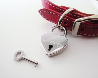 Heart Padlock Lovelock Pet Tag Custom Engraved in Gold Plated or Nickel Chrome Silver for Your Dog ID Pet Key Chain - Charm Size Medium