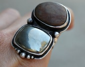 Yuba River Rock and Pyrite Ring. Sterling Silver. Size 6. Sterling silver.