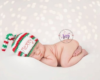 Newborn Christmas Beanie/ Top Knot Beanie/ Red White and Green Hat/ Baby boy hat/ Baby Girl Hat/ Newborn Holiday photo prop/ Christmas hat