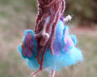 Fairy Ornament Needle felted Waldorf inspired ornament Felted ornament Fairy with butterflies Little Mobile Flower fairy
