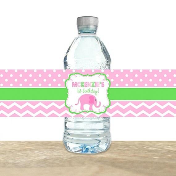 Elephant Water Bottle Labels Elephant Birthday Water Bottle Labels