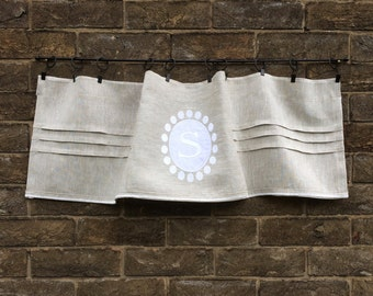 Linen Window Valance Curtain, Custom Natural Grey Monogram Curtain, Window Topper, Cantonniere