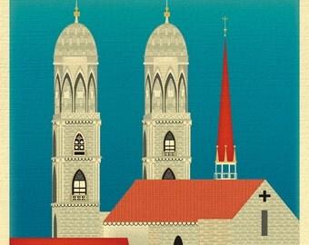 Zurich Skyline Art Print, Grossmünster, Zurich Art, Swiss Wall Art, Zurich Switzerland Print, Zurich City Poster style E8-O-ZUR