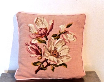 vintage needlepoint throw pillow - 1950s-60s pink magnolia floral pillow
