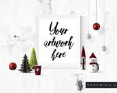 Styled Christmas Frame Mockup, 8x10 print for shop owners, Styled Photography Mockup, Digital Frame, Instant download