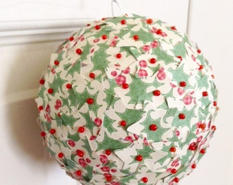 Christmas Ornament Paper Star Green Holly Berry Paper Kissing Ball Pomander Ball