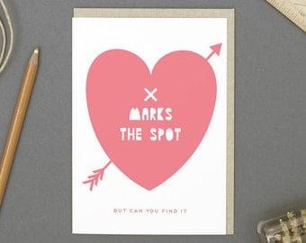 X Marks The Spot Valentine's Card (Free Transfer Tattoo)