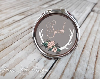 Personalized Bridesmaid Compact Mirror - Wild Garden Floral