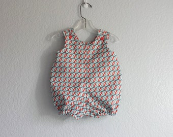 Baby Boys Bubble Romper - Infant Bubble Suit - Baby Blue Romper with Red & Blue  Boats - Baby Boy Clothes - Size 3m, 6m, 9m, or 12m