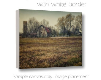 Barn Photography-Barn & Silo-Farmhouse Art-Distressed Wall Art-Farm Photography-Canvas Wall Art-24x36 Canvas-Rustic-Architecture-Abandonded