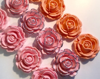 Fondant Roses Large Cupcake, Cake Cookie Toppers. Set includes 12 (one dozen) ANY COLOR you'd like!