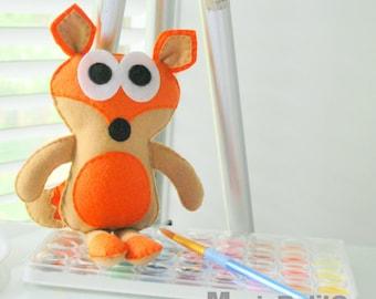 Felt Fox Doll, Felt baby Fox plush, Handmade Felt Toy, Eco friendly children toy  Ready to ship