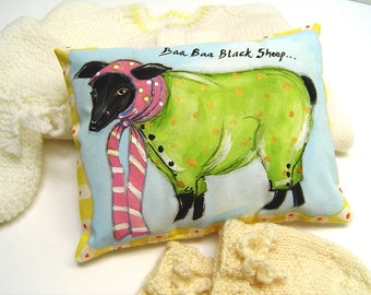 "Black Sheep Lavender Scented Baby Pillow - Hand Painted Whimsical Ba Ba Black Sheep - New Baby Gift Pillow 5.5 x 8"" - Charming Scented Art"