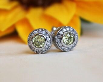 Yellow CZ halo earrings, silver halo stud earrings