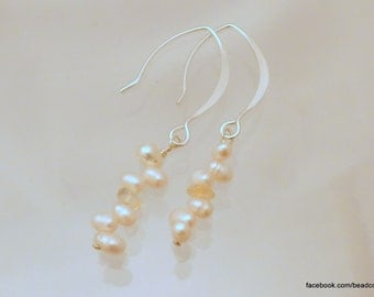 Freshwater Pearl & Citrine Sterling Earrings