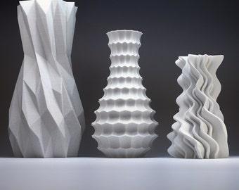 Modern Home Decor Bud Vase Set - Geometric Art Vases - Funky Vases Gift Pack Modern Vases