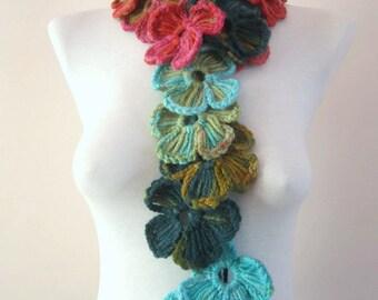 Crochet Scarf,Flower scarf,Lariat scarf,Gift for her,Women