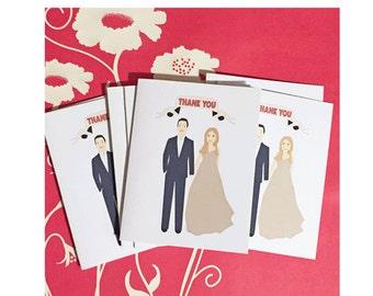 Custom Illustration Wedding Thank You Cards