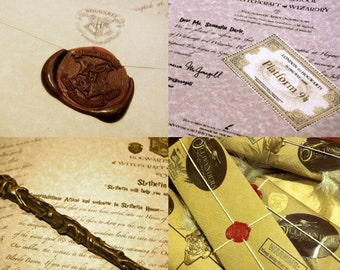 Hogwarts Complete Set : Custom Hogwarts Acceptance Letter with House Acceptance Letter and Magic Wand for Witches and Wizards