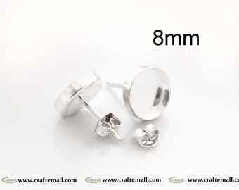4 Sterling Silver Earring Posts with Nuts for Resin 8mm (2 pairs) TK8