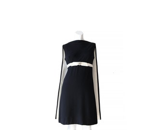 1960s Cocktail Dress • 60s Party Dress • Black and White • XS S