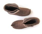 Eco friendly natural brown Chocolate/ felt slippers /men's, women / brown, taupe