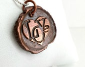 Copper Pendant Charm - Love - Organic Shape - Heart Necklace - Artisan Made
