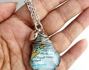 Map Necklace / Custom Map Pendant / Pick Your Location / State Jewelry / Travel Map / Map Jewelry / World Travel Necklace / Earth Day