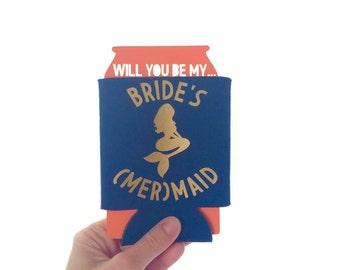 Brides Mermaid // Bridesmaid // Can Cooler // Bachelorette