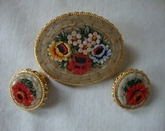 Vintage ITALIAN MILIFIORI Brooch Earrings 3 PC Set Made in Italy Hand Made Art Glass Jewlery Made in Italy