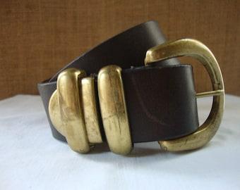 Vintage LEATHER BRASS BELT Bold Heavy Brass Mid Century Leather Belt Brass Buckle & Tip Well Made Leather Goods Vintage Ladies Leather Belt