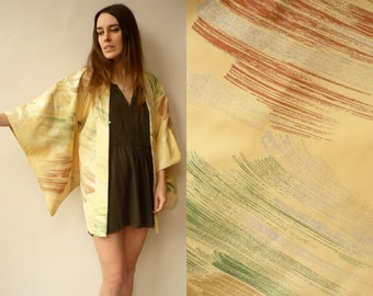 Vintage Authentic Japanese Kimono Duster Jacket With Glittery Pattern