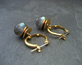 Labradorite earrings, hoop earrings, labradorite dangle, green blue, color flash, gold hoops, gemstone hoops