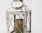 Shabby Large Metal Candle Lantern Pillar Holder Heavily Distressed White