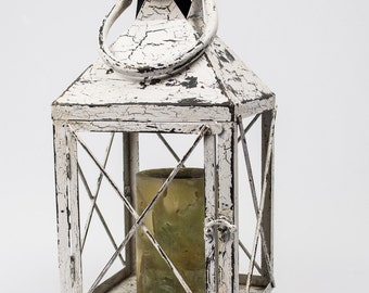 Shabby Large Metal Candle Lantern Pillar Holder Heavily Distressed White