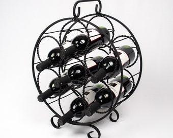 Black Iron Wine Rack / Seven Bottles  / Round Iron Wine Holder