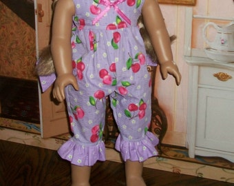 American Made 18inch Doll Lavender Sleep Jumpsuit with Cherries and Daisies
