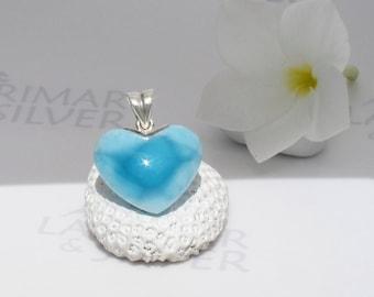 Larimarandsilver pendant, Love Paradise - azure Larimar heart, sky blue heart, Swiss blue, AAA Larimar, love angel, handmade Larimar pendant