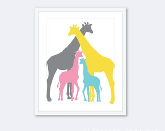 Giraffe Art Print / Giraffe Wall Art / Giraffe Family Print / Nursery Wall Art / Nursery Decor / Nursery Art / Choose Your Colors Aldari Art