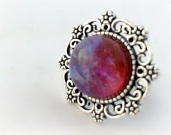 Dragon's breath victorian gothic ring, mexican opal round ring, dark fantasy jewelry